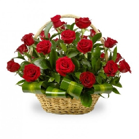 21 Red Roses in Basket